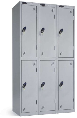 Probe Low Two Door Nest of Three Steel Lockers - 1210 x 305 x 460mm