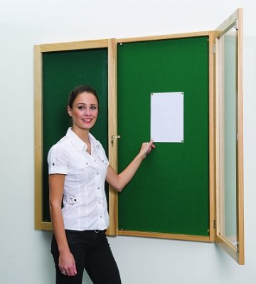 Beech Wood Tamperproof Noticeboards Double Door 1200 x 900mm