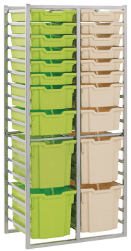 Metalliform Mobile 8000 Double 36 Tray Static Storage Unit