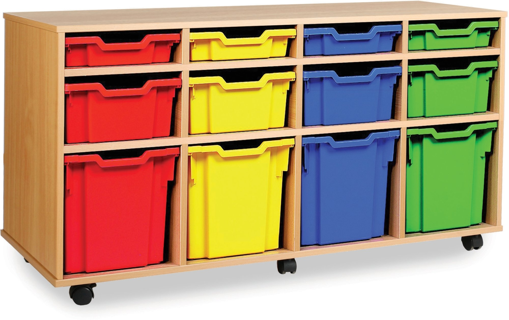 Classic tray storage unit 4 shallow 4 deep and 4 jumbo trays for Shallow shelving unit