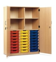 Monarch 24 Shallow Tray Storage Cupboard with Lockable Doors