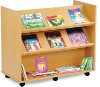 Monarch Library Unit With 2 Angled and 1 Horizontal Shelf Each Side
