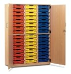 48 Shallow Tray Storage Cupboard with Lockable Doors