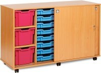 16 Shallow, 4 Deep & 3 Extra Deep Tray Unit with Lockable Sliding Doors