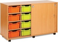 Monarch 8 Deep & 6 Extra Deep Tray Unit with Lockable Sliding Doors