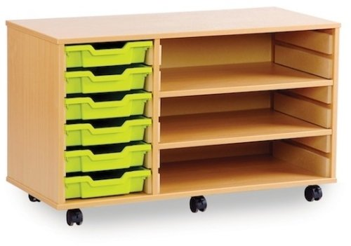 6 Shallow Tray Unit with 2 Adjustable Shelves
