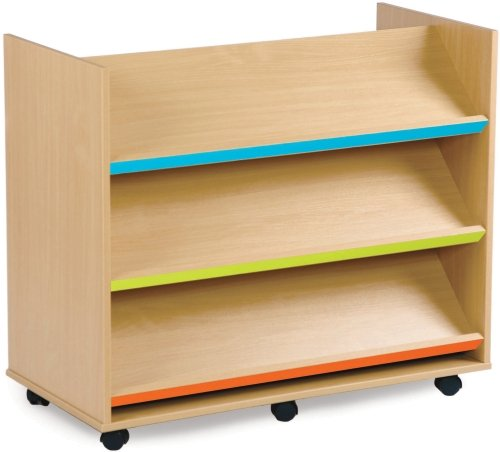 Monarch Library Unit with 3 Coloured Angled Shelves Each Side