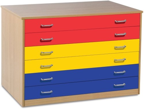 Monarch 6 Drawer Plan Chest With Coloured Drawers