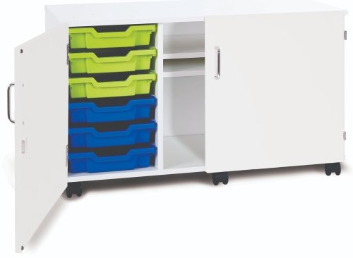 Monarch Premium Mobile 6 Shallow Tray Unit with 2 Shelf Compartment and Doors