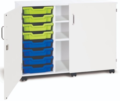 Monarch Premium Mobile 8 Shallow Tray Unit with 2 Shelf Compartment and Doors