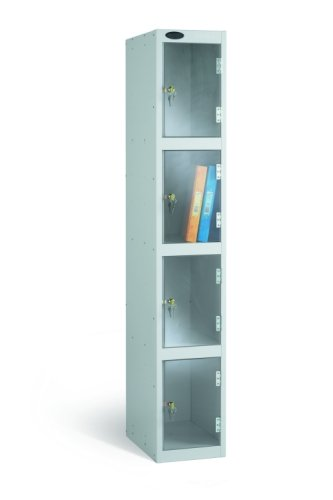 Probe Four Compartment Clear Door Single Nest Locker - 1780 x 305 x 380mm