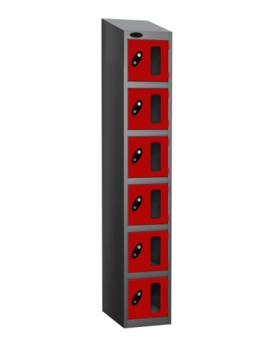 Probe Six Compartment Vision Panel Single Nest Locker - 1780 x 305 x 305mm