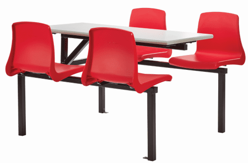 Metalliform Four Seater Cantilever Canteen Table & Chairs