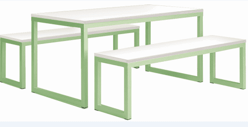 Metalliform Standard Dining Table & Benches - 1600 x 800mm