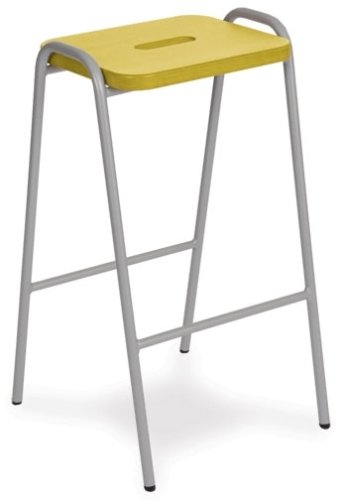 Hille Wooden Flat Top Stacking Stool - Green Wood